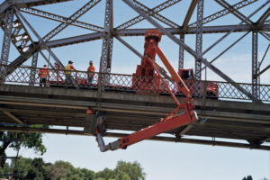 Bridge inspection Platform being used to carry out maintenance on bridge