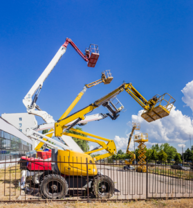 Four Boom lifts on display