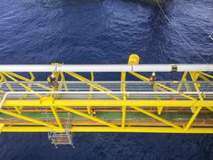 Arial view of yellow bridge
